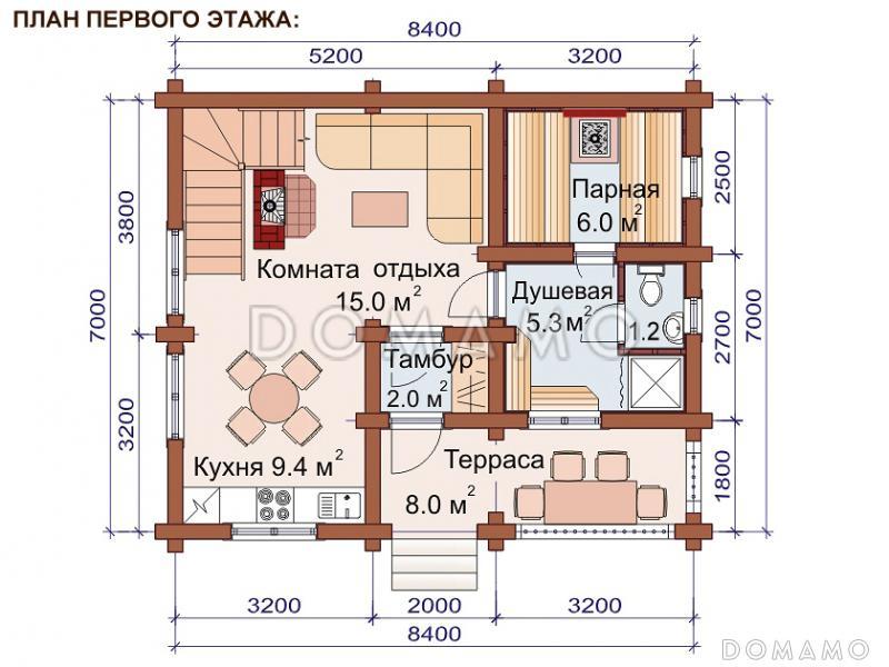 Проект деревянной бани с камином, тремя спальнями и балконом на мансардном этаже D873 | Каталог проектов Домамо