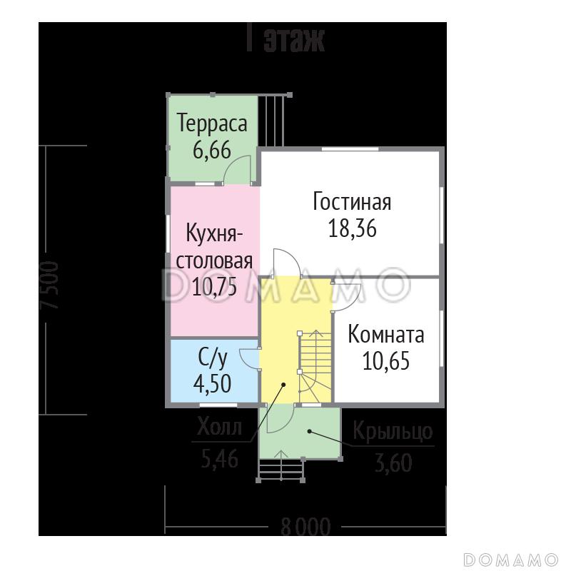 Проект  дома из клееного бруса 8х7 с мансардой D1973 | Каталог проектов Домамо
