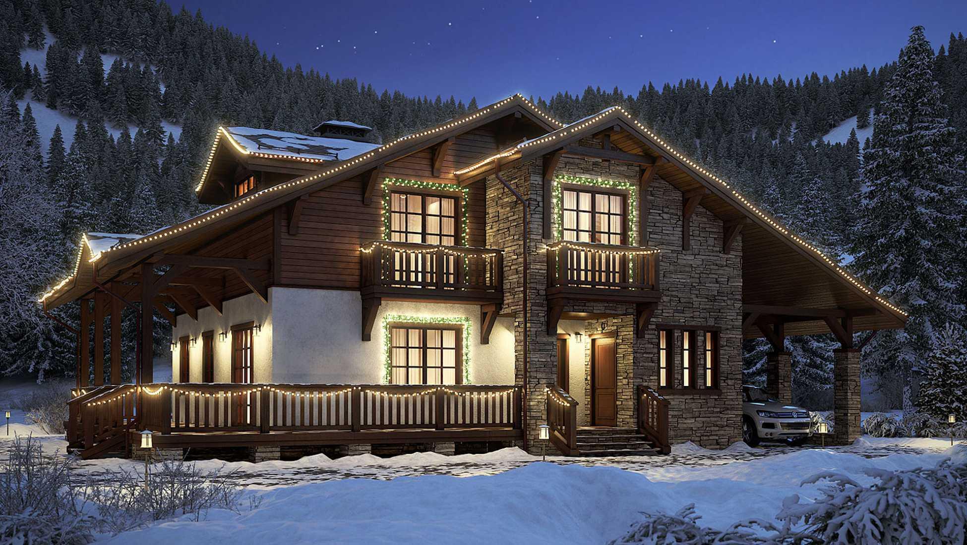 Дом в стиле фахверк из клееного бруса